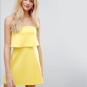 ASOS yellow tube top dress